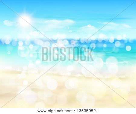 View on sunny beach. Vector Illustration.