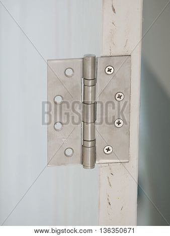 stainless door hinges on a white door