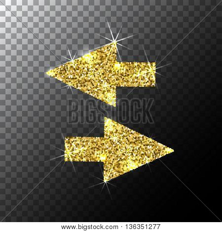 arrows cursor, Gold glitter icon, web icon, Gold sparkles icon, vector logo concept for web graphics.
