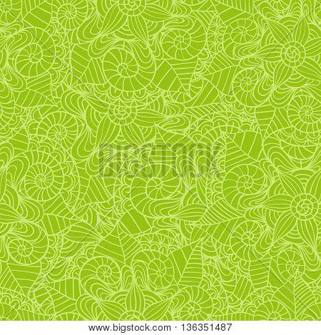 Hand drawn seamless mandala flowers pattern. Vector illustration