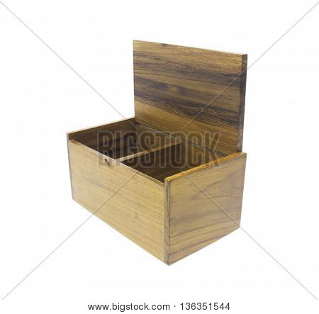 Open wooden box isolated on white background