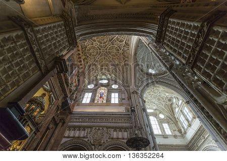 Cordoba - Spain - June 10, 2016 : Cathedral White Ceiling Dome Mezquita Cordoba Spain. Created In 78