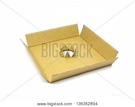 The cardboard box on white background texture