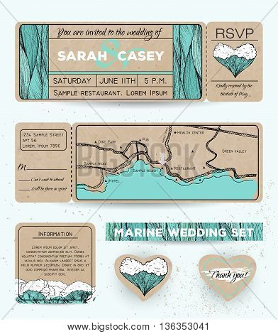 Marine wedding invitation set with rsvp card. Ticket to a sea party with road map