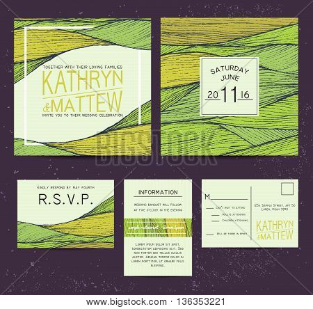 wedding invitation set with rsvp card. beautiful green wavy ornament background