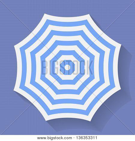 Icon of Umbrella. Stripped parasol symbol. Vector illustration