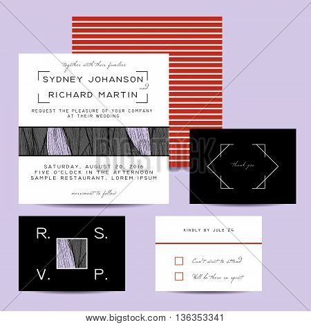 wedding invitation set with rsvp card. beautiful wavy ornament background