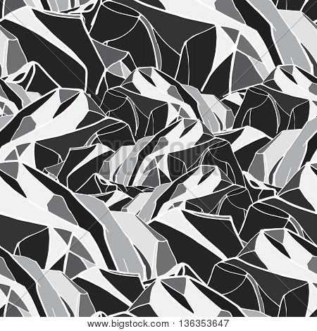 geometric seamless pattern. monochrome background with abstract mountains