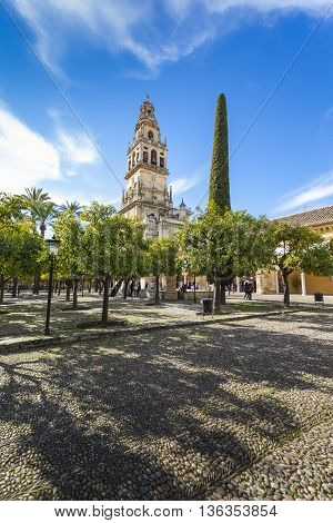 CORDOBA - SPAIN - JUNE 10 2016 :The bell tower at the Mezquita mosque & cathedral in Cordoba Spain