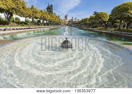 Cordoba - Spain - June 10, 2016 :gardens At The Alcazar De Los Reyes Cristianos In Cordoba, Spain.