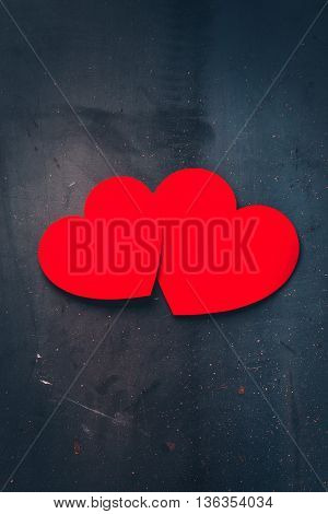Valentines day hearts. Red, on metal background, paper applique. Copy space