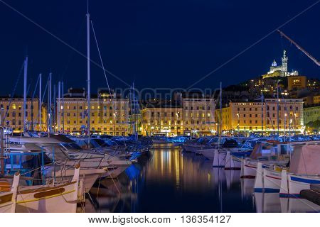 Evening In Marseille ,France, Europe,night view of Marseille