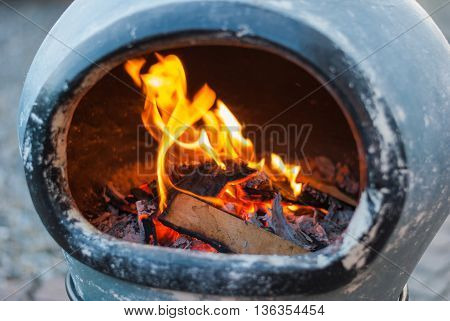 chimenea fire close up showing detail of flames