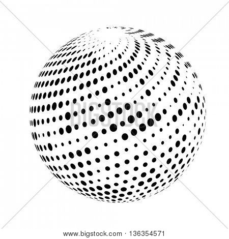 Halftone sphere isolated on white background. Halftone dots. Halftone globe. Halftone pattern. Vector Illustration.