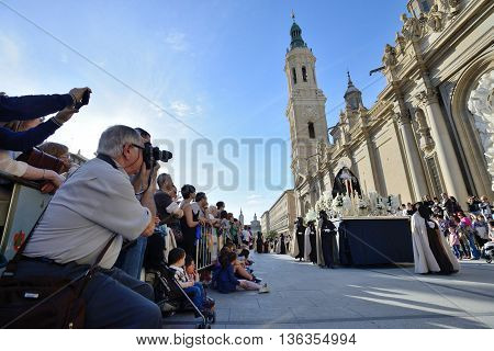 ZARAGOZA SPAIN - APR 18 Unidentified people taking photos in the Good Friday procession April 18 2014 in the Zaragoza (Saragossa) community of Aragon Spain
