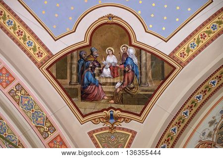 STITAR, CROATIA - AUGUST 27: Twelve year Jesus in the Temple, fresco in the church of Saint Matthew in Stitar, Croatia on August 27, 2015