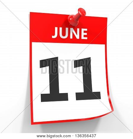 11 June Calendar Sheet With Red Pin.