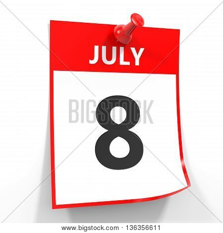 8 July Calendar Sheet With Red Pin.
