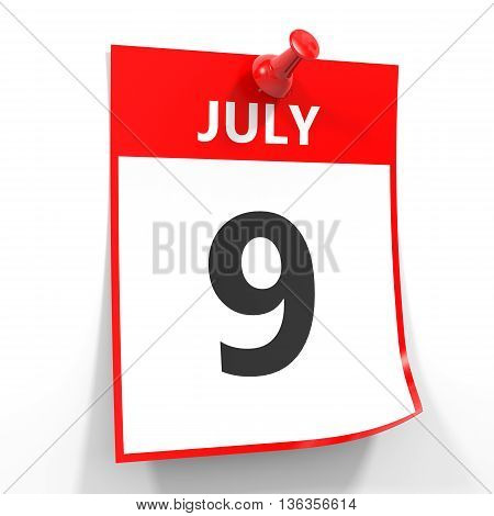9 July Calendar Sheet With Red Pin.