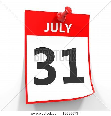31 July Calendar Sheet With Red Pin.