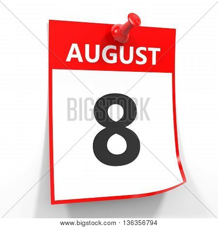 8 August Calendar Sheet With Red Pin.