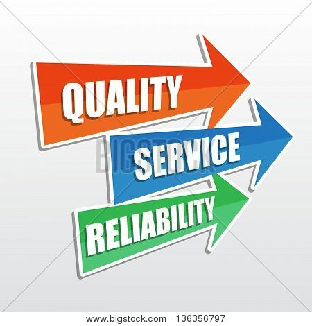quality, service, reliability - text in arrows, business concept, flat design, vector