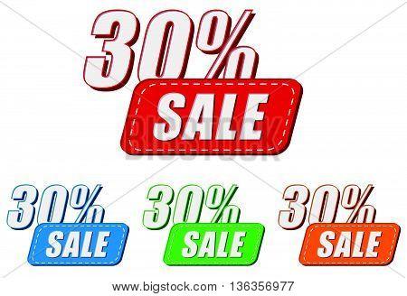 30 percentages sale, four colors labels, flat design, business shopping concept, vector