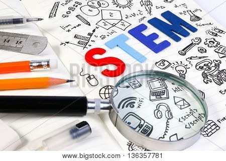 Stem Education. Science Technology Engineering Mathematics. Stem Concept With Drawing Background. Ma