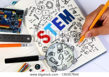 Stem Education. Science Technology Engineering Mathematics. Stem Concept With Drawing Background. Ed