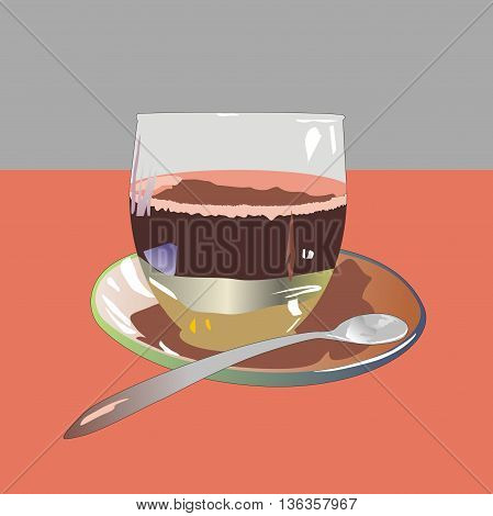 Illustration glass cup of coffee with caramel on a glass saucer and steel teaspoon