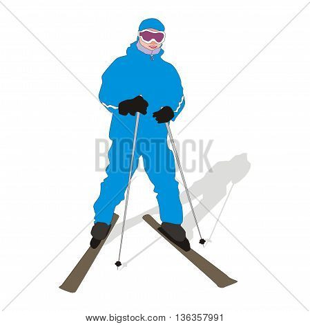 Illustration young skier wearing blue ski suit isolated on white background