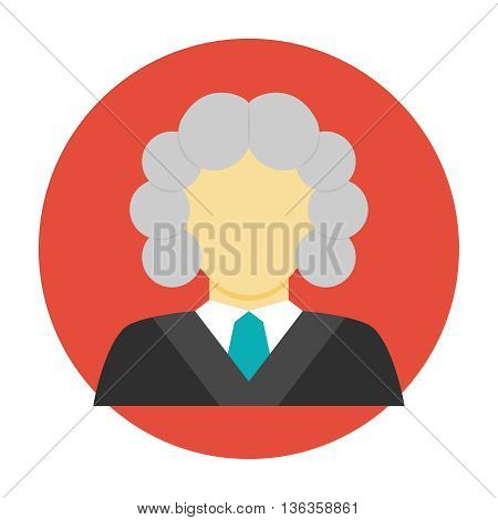 Judge avatar flat icon. Judge in a wig