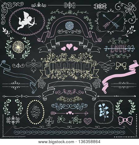 Vector Chalk Drawing Rustic Floral Doodle Swirls, Branches, Design Elements. Decorative Corners, Dividers, Arrows, Scrolls, Ribbons on Chalkboard Texture. Hand Drawn Vector Illustration.