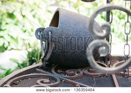 Old Ancient Cast Iron Cauldron