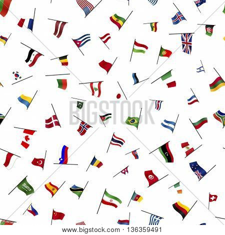 A lot of flags on a pole on white seamless pattern