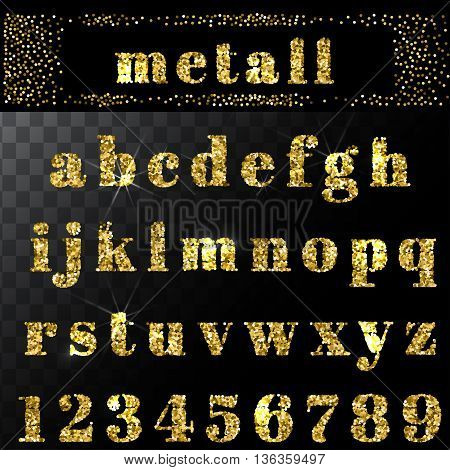 Vector gold glitter alphabet. Hand drawn letters. Letters of the alphabet written. EPS
