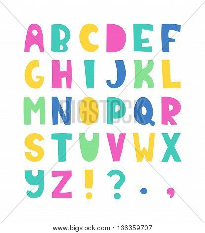 Summer hand drawn colorful alphabet. Vector letters set. Funny style with decorations.