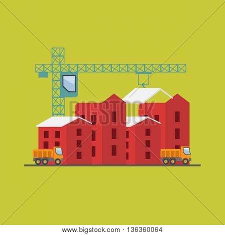 Construction site building a house vector flat eps10