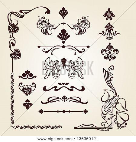 Flower ornament, Corner ornament arrow decorative elements