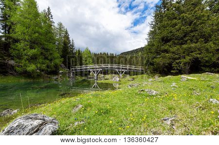 Green meadow with wooden footbridge in the background at lake Obernberg in the Austrian Alps
