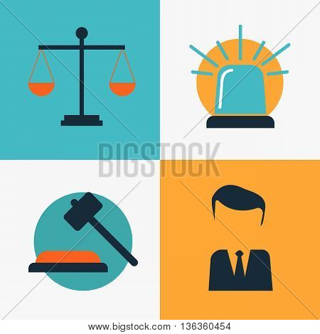 Legal services law and order justice vector flat concept set eps10