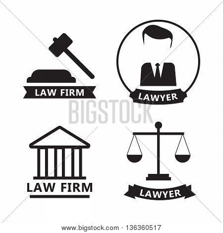 Lawyer and law office logo emblem labels set eps10