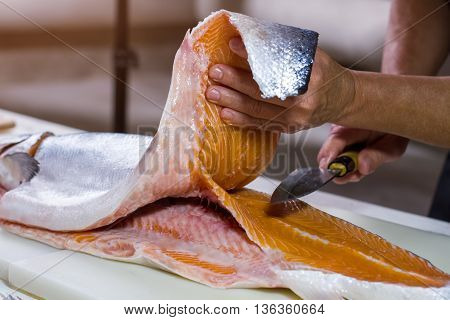 Hand holds knife near fish. Cooking board with raw fish. Chef prepares salmon for sushi. Cut it in half.