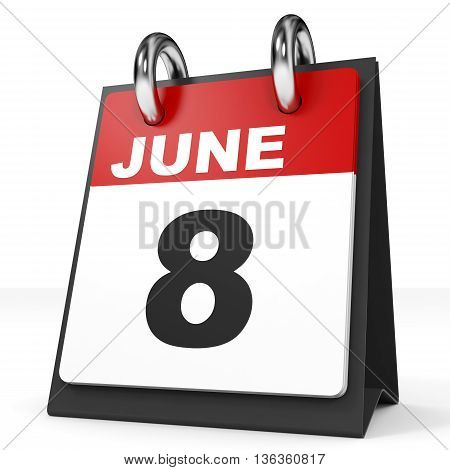 Calendar On White Background. 8 June.