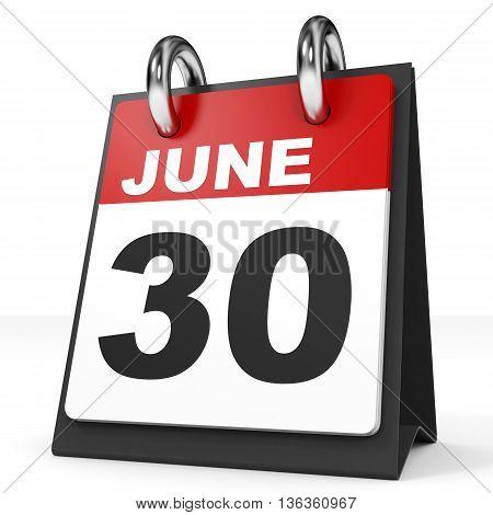 Calendar On White Background. 30 June.