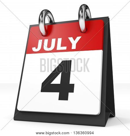 Calendar On White Background. 4 July.