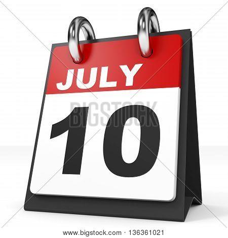 Calendar On White Background. 10 July.