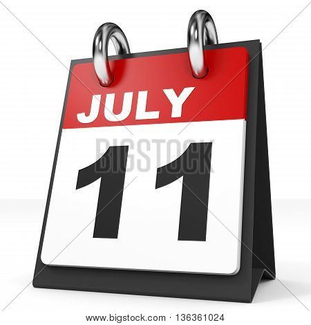 Calendar On White Background. 11 July.