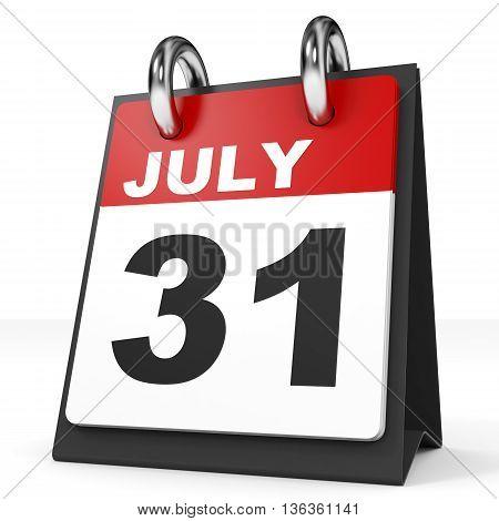 Calendar On White Background. 31 July.