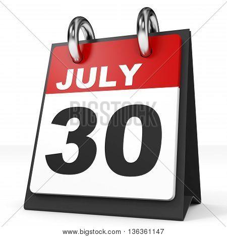 Calendar On White Background. 30 July.